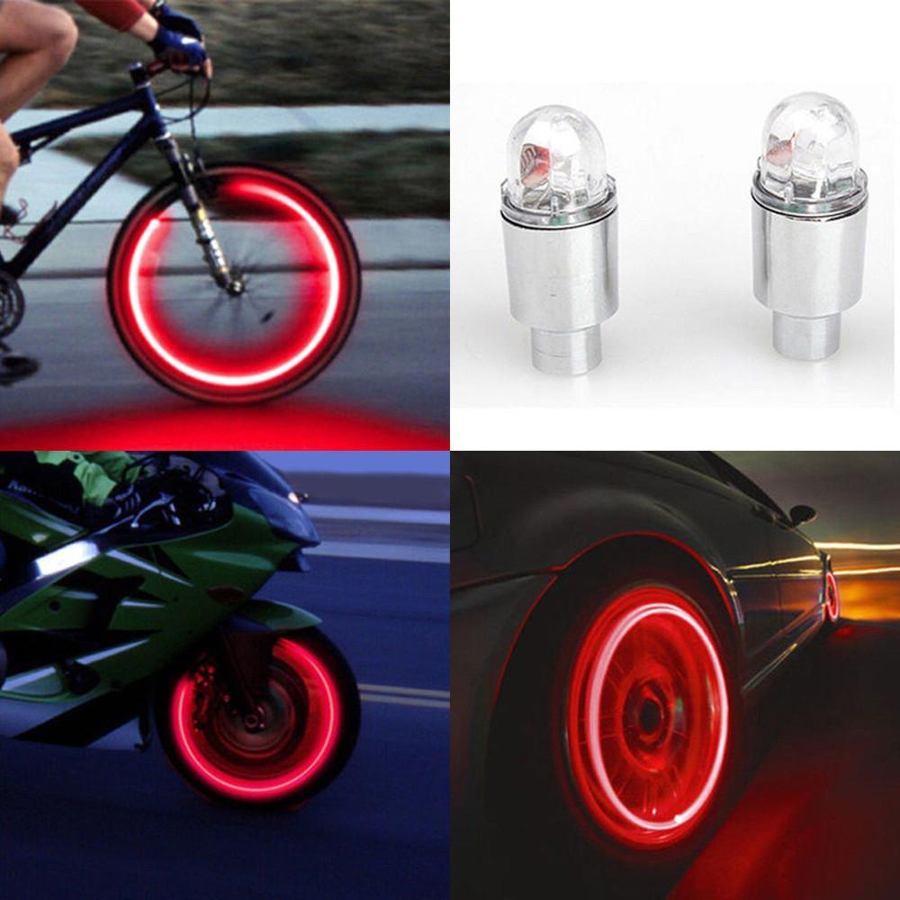 2Pcs LED Tire Valve Stem Caps Neon Light Auto Accessories For Bike Bicycle Car