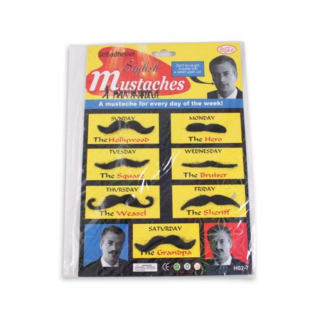 Set of 7 Stylish Self Adhesive Fake Mustaches Costume Party Gag Toy