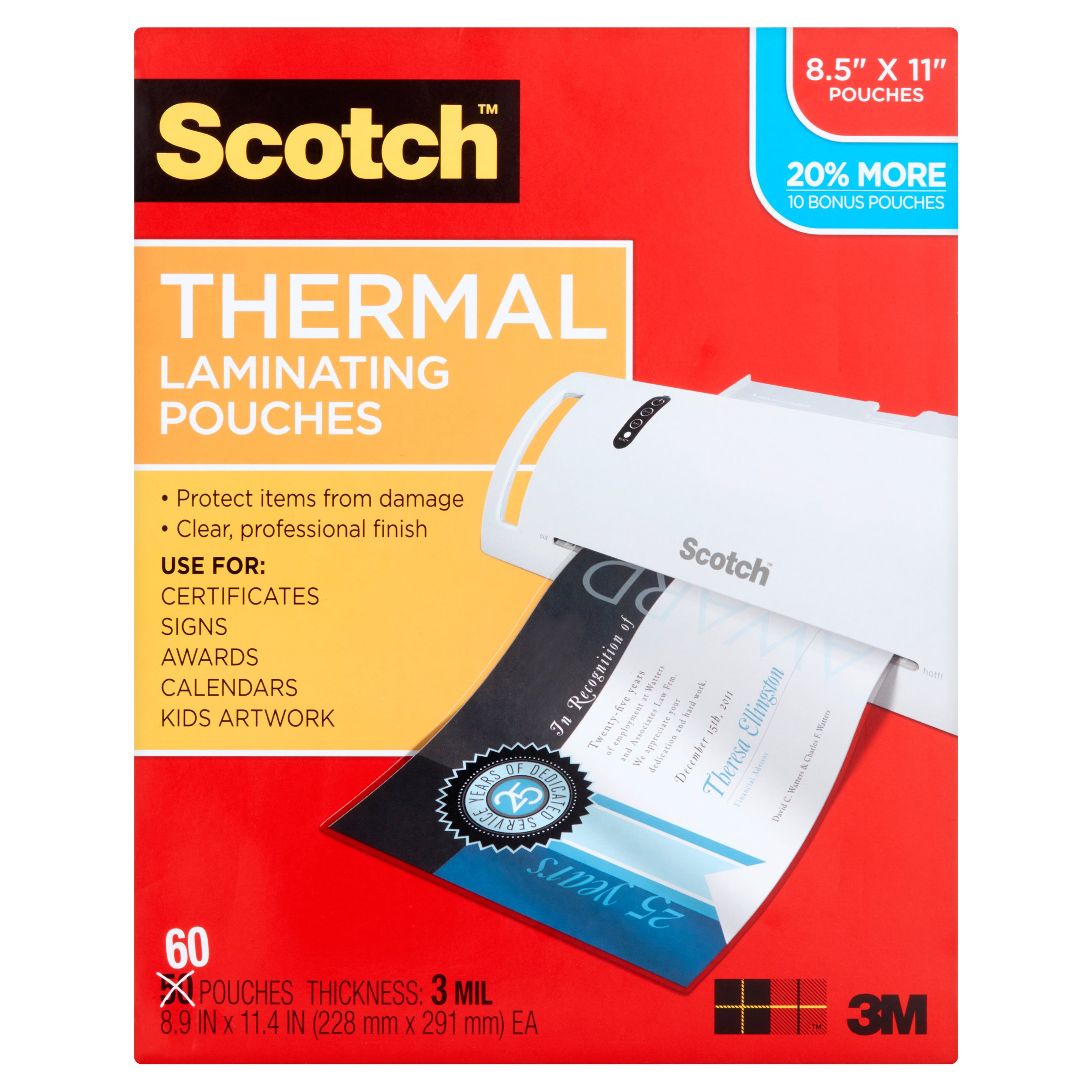 Scotch Thermal Laminating Pouches 60 pack, Letter Size Sheets