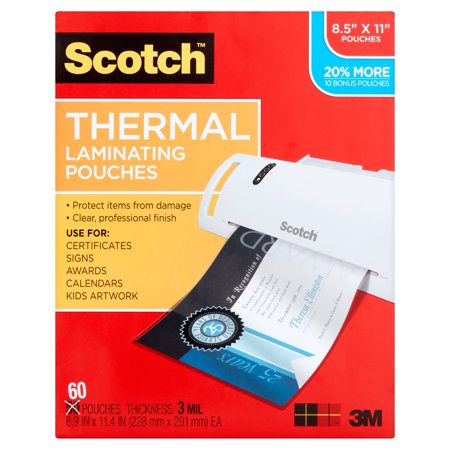 Scotch Thermal Laminating Pouches 60 Pack  Letter Size  9 5In 11 5In   3Mil Thickness  60 Pouches Per Pack