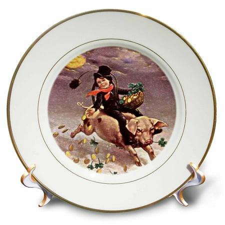 3dRose Chimney Sweeper on Flying Pig (Vintage), Porcelain Plate, 8-inch ()