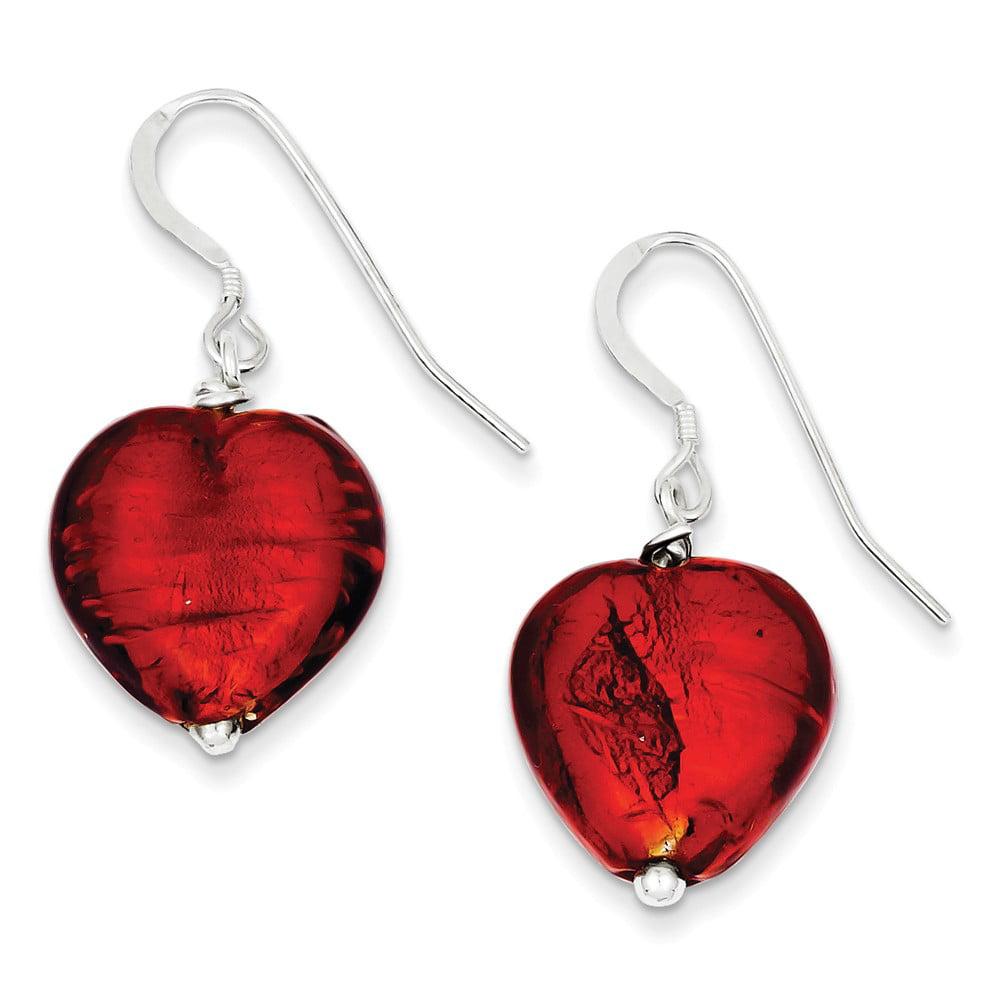 Sterling Silver Red Murano Glass Heart Earrings (1.4IN x 0.6IN )