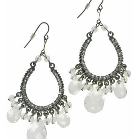 Clear Faux Crystal Silver Tone Big Dangle Pierced Chandelier Earrings 3