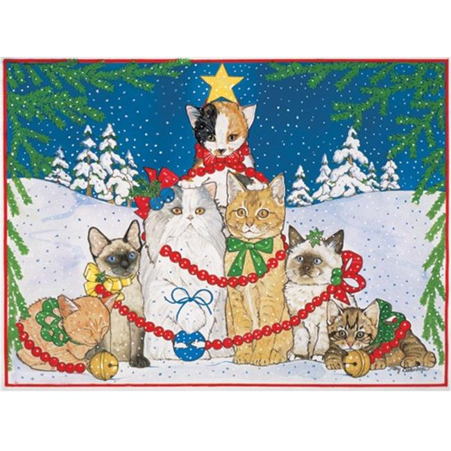 Pipsqueak Productions C451 Catmas Tree Cat Christmas Boxed Cards - Pack of 10