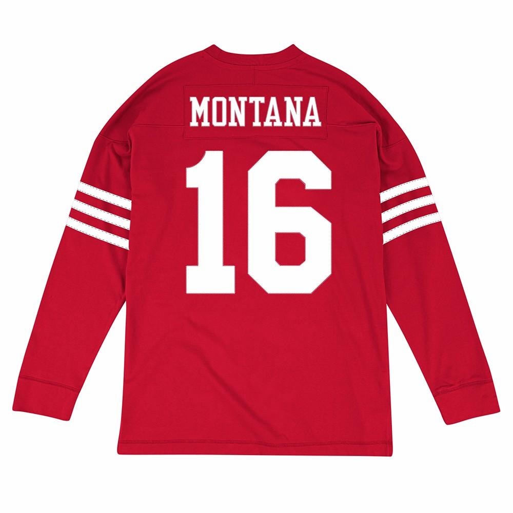 Joe Montana San Francisco 49ers NFL Mitchell & Ness Red 1989 Jersey Inspired Longsleeve Knit  Shirt For Men