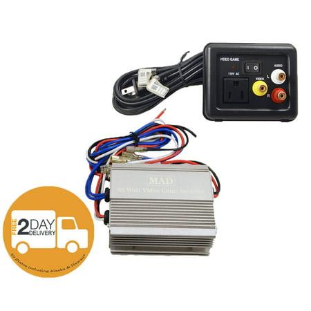 Power Inverter 12 Volt DC to 110V AC 85 Watts with Video Game Port 12V