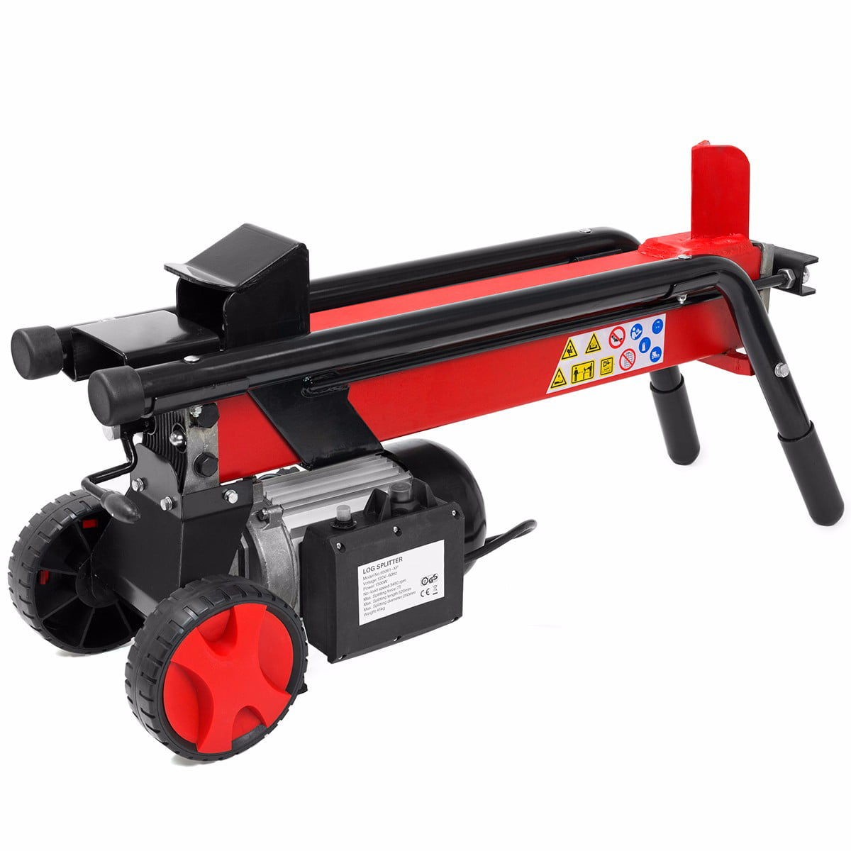 "7 Ton Electrical Hydraulic Log Splitter Cutter 7"" Mobile Wheels Red by XtremepowerUS"