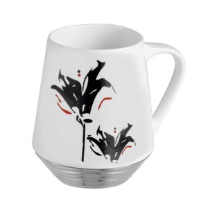 New White Ceramic Coffee Mug with Black Flower and Stainless steel Base