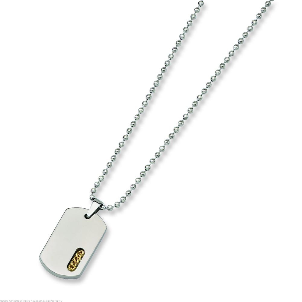 """Titanium 24K Gold Plated Dog Tag Mens Necklace 22"""""""