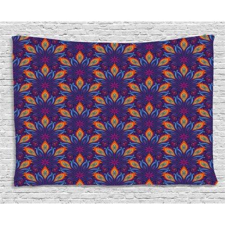 Mandala Tapestry, Embellished Vibrant Colored Floral Pattern Indian ...