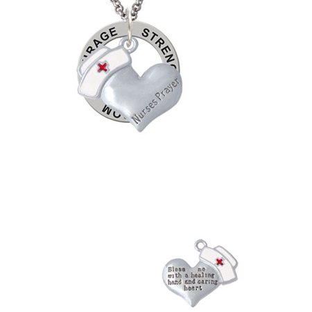 Nurse's Prayer Heart - Healing Hand Strength Wisdom Courage Affirmation Ring Necklace