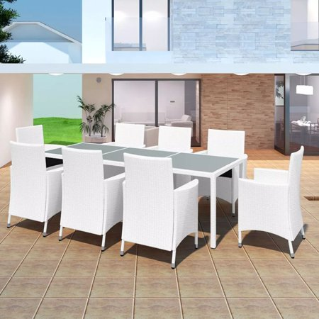 Outdoor Dining Set 17 Pieces Poly Rattan Cream White ()