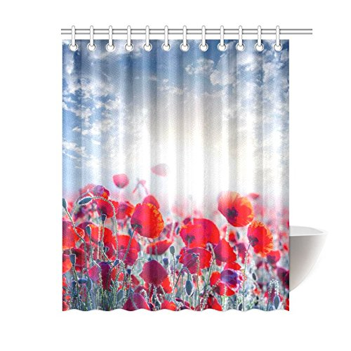 GCKG Red Poppy Shower Curtain 60x72 Inches Polyester Fabric Bathroom Sets Home Decor