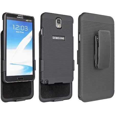 BLACK RUBBERIZED CASE COVER BELT CLIP HOLSTER STAND FOR SAMSUNG GALAXY NOTE