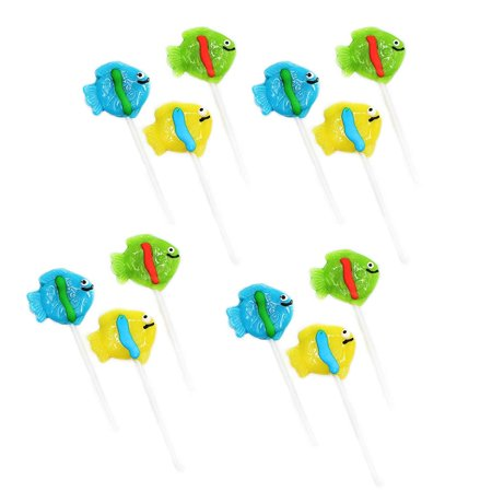 "2"" Tropical Fish Lollipops - Pack of 12 Assorted Fruit-Flavored Candy Suckers for Party Favors, Cake Decorations, Novelty Supplies or Treats for Halloween, Christmas, Baby Showers by Kidsco - Halloween Party Songs For Toddlers"