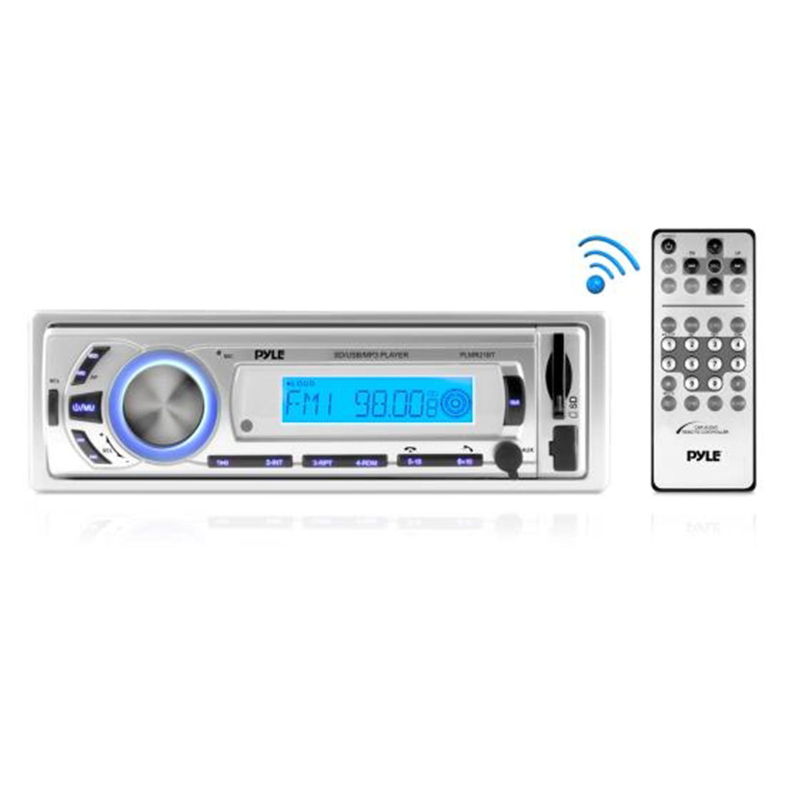 Click here to buy BT Stereo Radio In-Dash Console Headunit Receiver, USB SD MP3 Playback, Aux (3.5mm) Input, AM FM Radio, Single DIN,... by Pyle.
