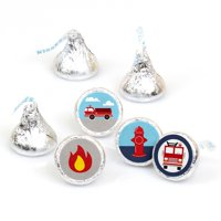 Fired Up Fire Truck - Firefighter Baby Shower or Birthday Party Round Candy Sticker Favors - Labels Fit Hershey's Kisses