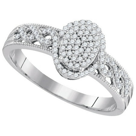 Size - 7 - Solid 10k White Gold Round White Diamond Engagement Ring OR Fashion Band Channel Set Oval Shaped Halo Ring (1/4 cttw)