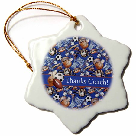 3dRose Thank you Coach, Baseballs, Footballs, Soccer, Gloves, Basketballs - Snowflake Ornament, 3-inch ()