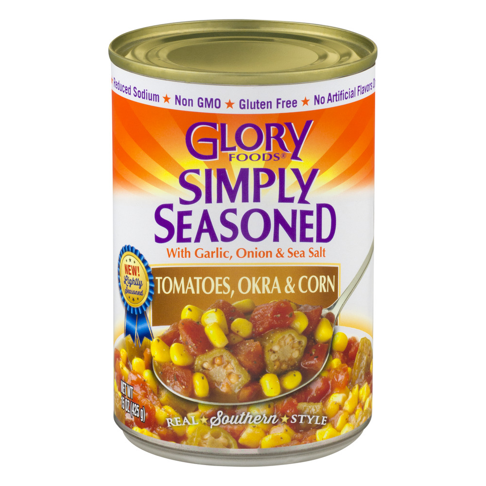 Glory Foods Simply Seasoned Tomatoes, Okra & Corn, 15.0 OZ