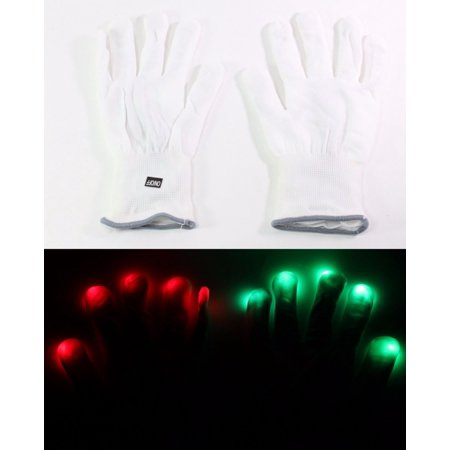 One Pair 7 Mode LED Light Up Flashing Rave White Finger Gloves Party](Finger Light Gloves)