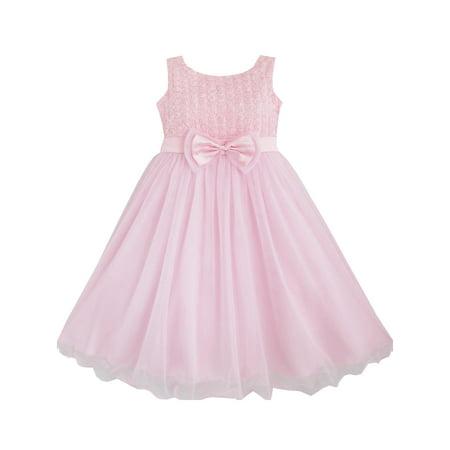 a23e6fec948f Sunny Fashion - Girls Dress Rose Flower Pink Wedding Bridesmaid ...