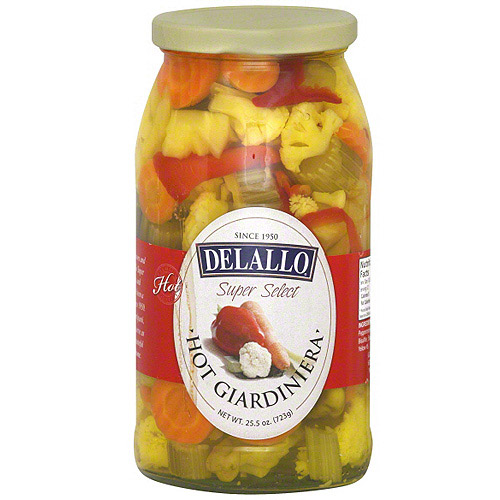 Delallo Hot Giardiniera, 25.5 oz (Pack of 6)