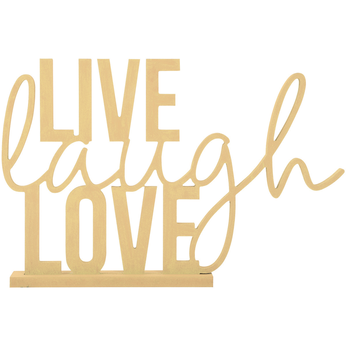 """Beyond The Page MDF Live, Laugh, Love Phrase, 15.5"""" x 10.25"""" with 1.5"""" Base"""