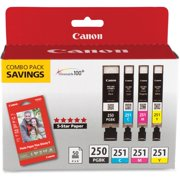"Canon PGI-250 & CLI-251 4-Cartridge Combo Pack with Photo Paper (4 x 6"", 50 Sheets)"