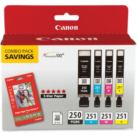 Canon PGI-250 & CLI-251 4-Cartridge Combo Pack with Photo Paper (4 x 6