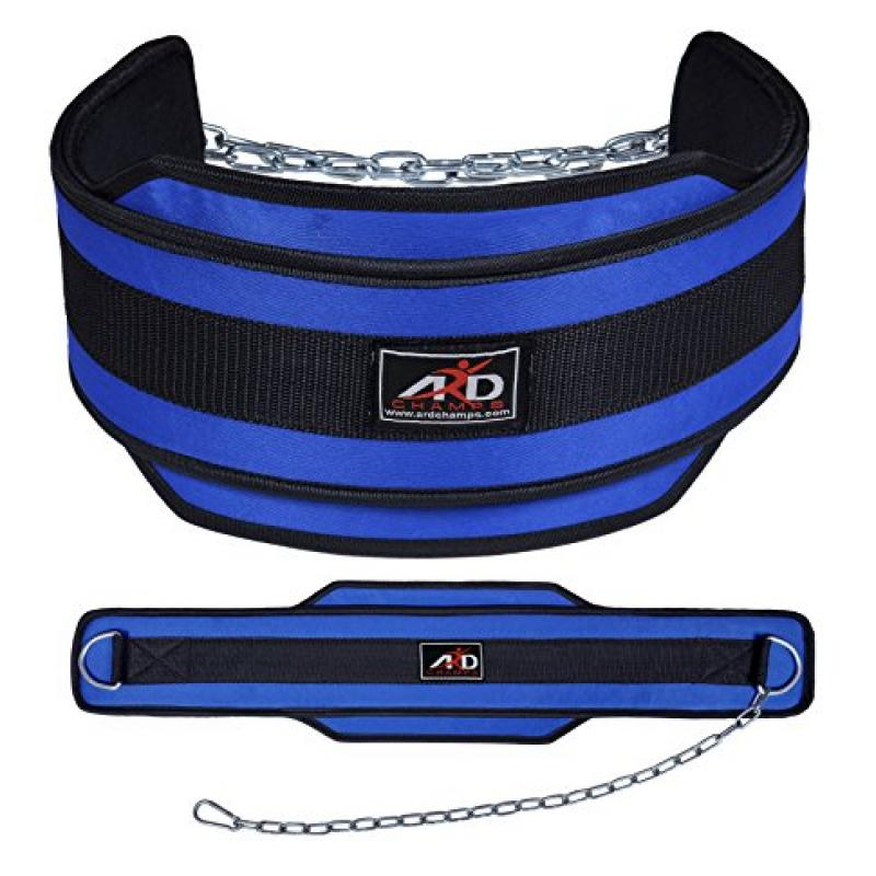 ARD CHAMPS™ Weight Lifting Belt/ Neoprene Belt/ Exercise Belt With Heavy Chain Blue