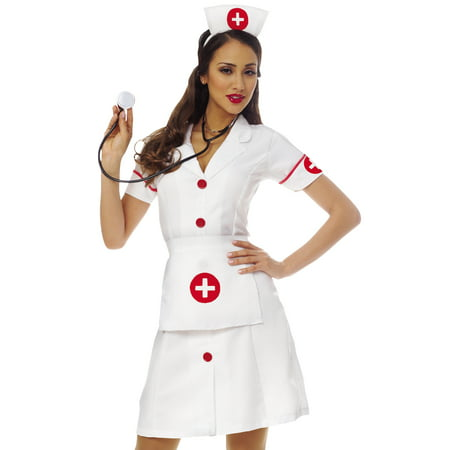 Zombie Nurse Outfit Halloween (Sexy Womens Fetish Fantasy White Nurse Dress Halloween Costume Outfit)