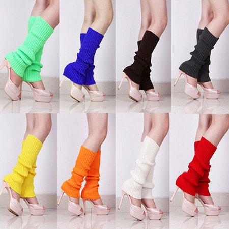 (Asian Size)Women Solid Candy Color Knit Winter Leg Warmers Loose Style Boot Socks - White Leg Warmers