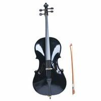 4/4 Acoustic Cello + Case + Bow + Rosin Wood Color Beautiful Varnish Finishing (Black)