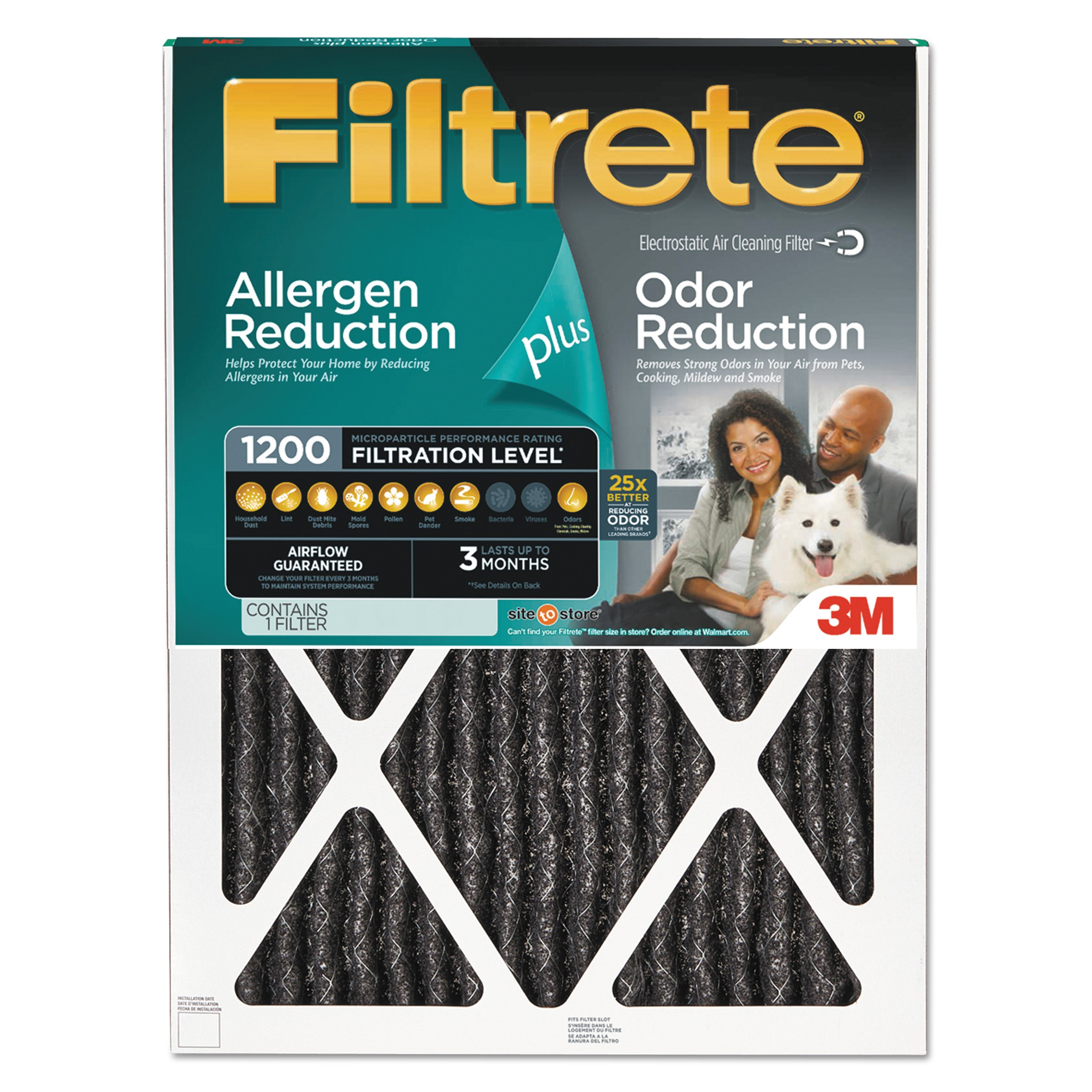Filtrete Allergen Plus Odor Reduction HVAC Furnace Air Filter, 1200 MPR, 20 x 25 x 1, 1 Filter