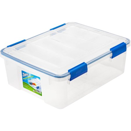 Ziploc 26.5-Quart (6.6-Gallon) WeatherShield Storage Box, Clear, Available in a Pack of 4 or Single Unit