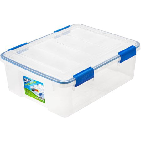 Ziploc 26.5-Quart (6.6-Gallon) WeatherShield Storage Box, Clear, Available in a Pack of 4 or Single