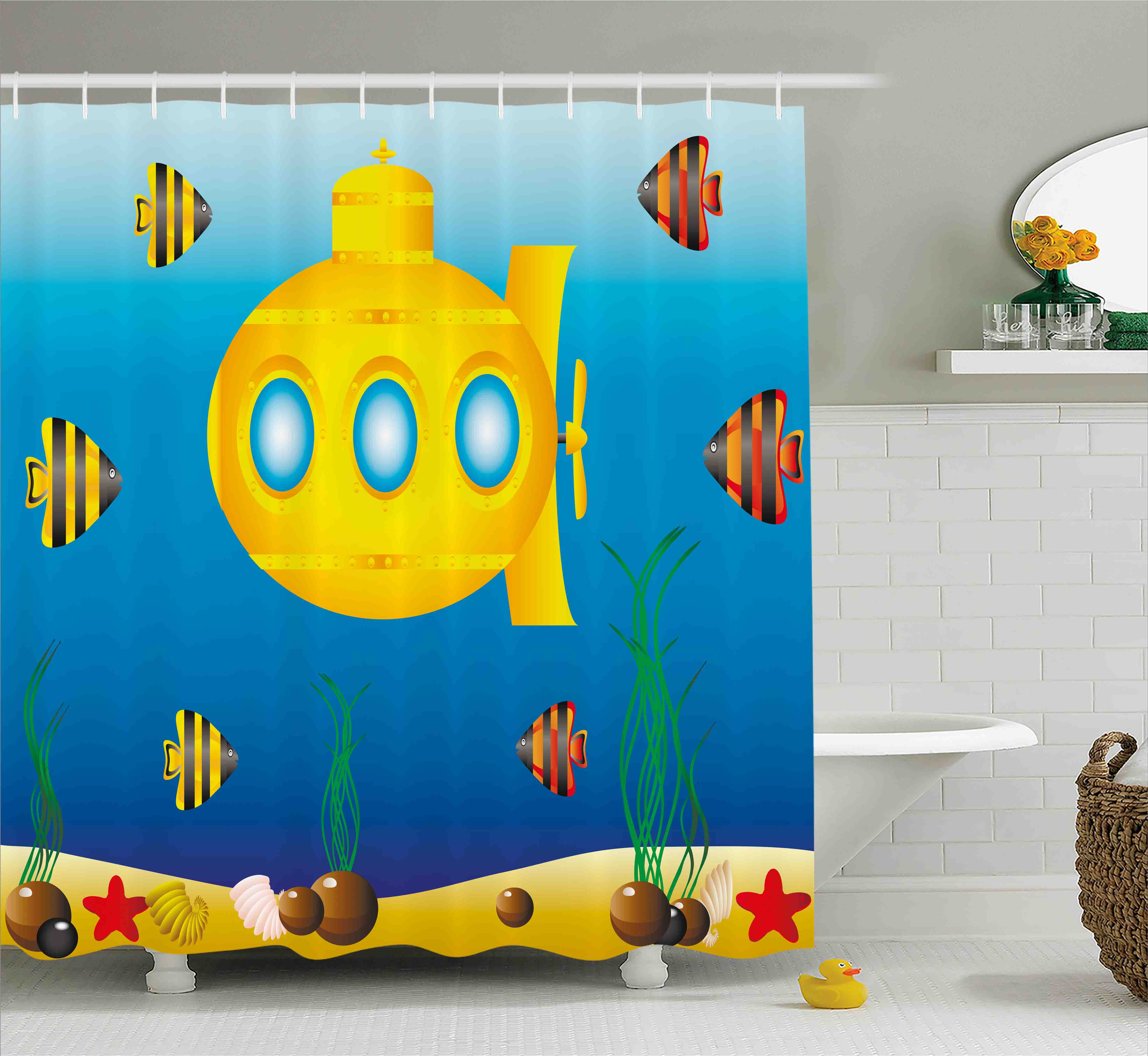Yellow Submarine Decor Shower Curtain, Nautical Theme a Submarine Surrounded by Fish and Sea Grass Print, Fabric Bathroom Set with Hooks, 69W X 84L Inches Extra Long, Blue Yellow, by Ambesonne