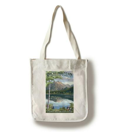 Rocky Mountain National Park, Colorado - Longs Peak & Bear Lake Summer- Lantern Press Artwork (100% Cotton Tote Bag - Reusable)