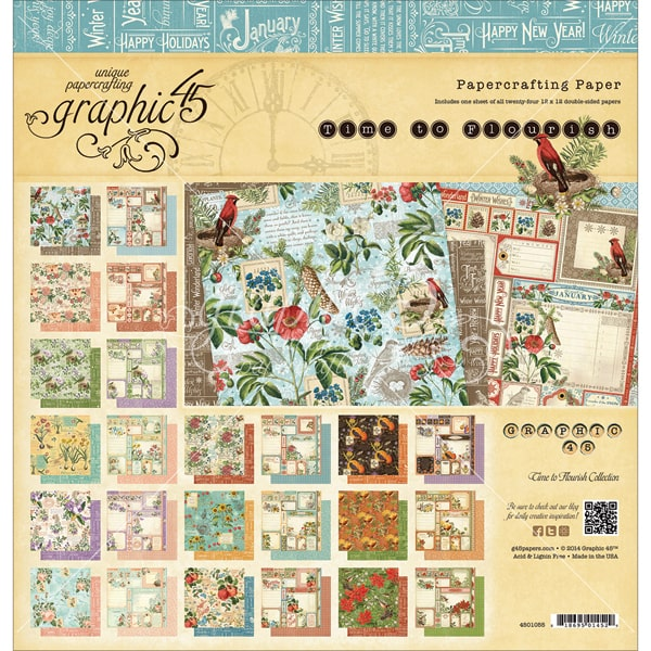 Graphic 45 Time to Flourish Pad for Scrapbooking, 12 by 12-Inch Multi-Colored