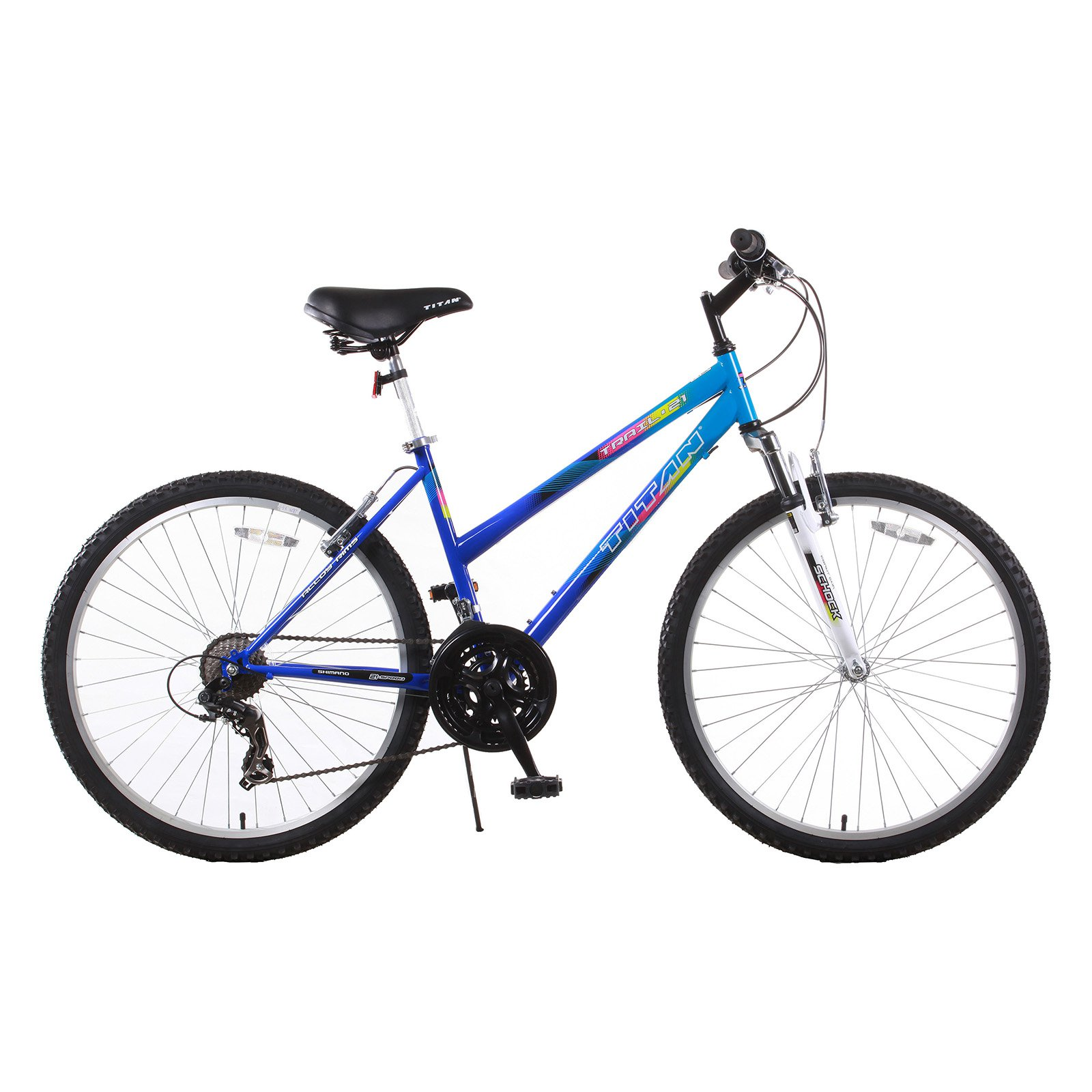 TITAN Trail 21-Speed Suspension Women's Mountain Bike with Front Shock, Blue
