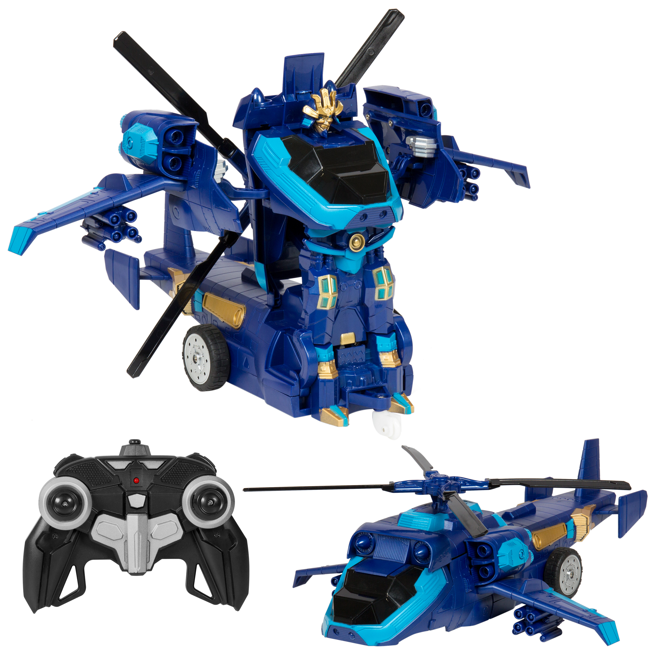Best Choice Products Toy Transformer Tank Helicopter Remote Control RC Robot w/ USB Charger - Blue