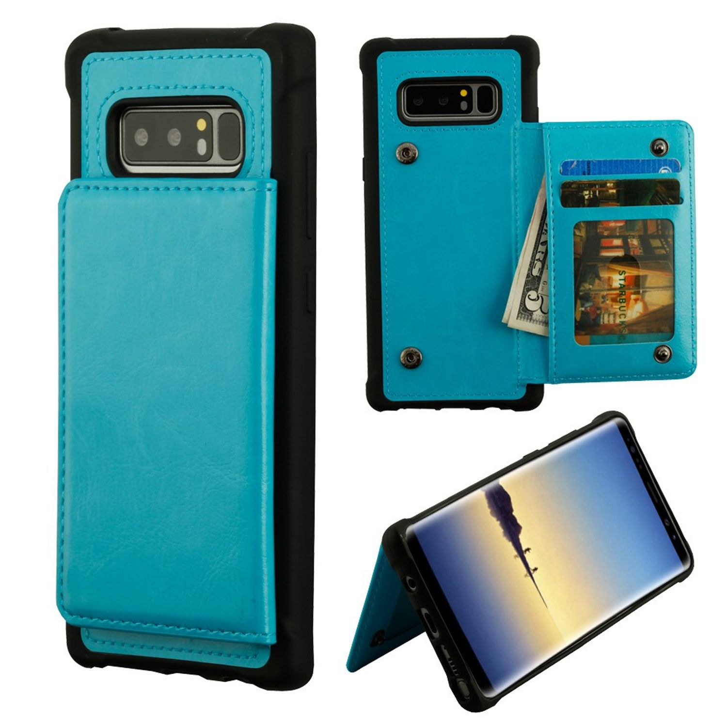 Samsung Galaxy Note 8 Case, by MyBat Executive Protector Stand Leather [Card Holder Slot] Wallet Pouch Case Cover For Samsung Galaxy Note 8, Blue/Black