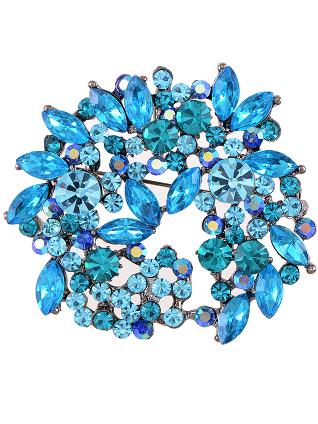 Feinuhan Synthetic Sapphire Blue Crystal Rhinestone Floral Wreath Brooch Pin by