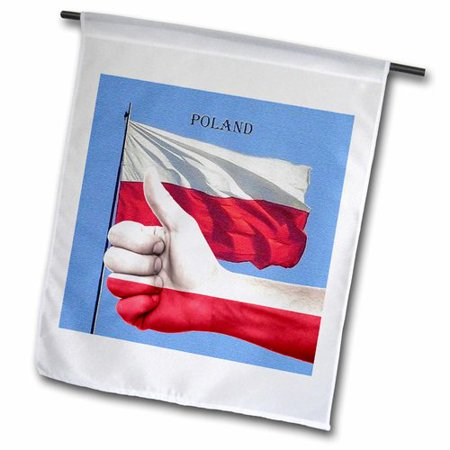 3dRose Poland Canvas Photo and Thumbs Up Pride Polyester 1'6'' x 1' Garden Flag ()
