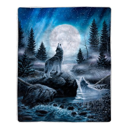 Sherpa Fleece Throw Blanket- Howling Wolf Pattern, Lightweight Hypoallergenic Bed or Couch Soft Plush Blanket for Adults and Kids by Somerset (Patterns Fleece Blankets)