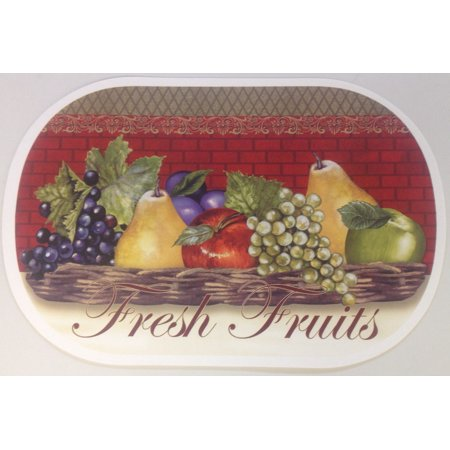 SET OF 6 EXPANDED VINYL PLACEMATS, FRESH FRUIT