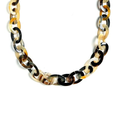 Earth Tone Brown Handmade Natural Buffalo Horn Long Oval Link Chain Necklace For Women 40 Inches ()