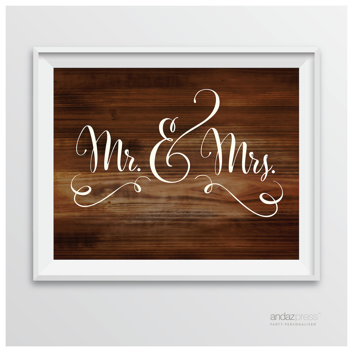 Mr. & Mrs. Rustic Wood Wedding Party Signs
