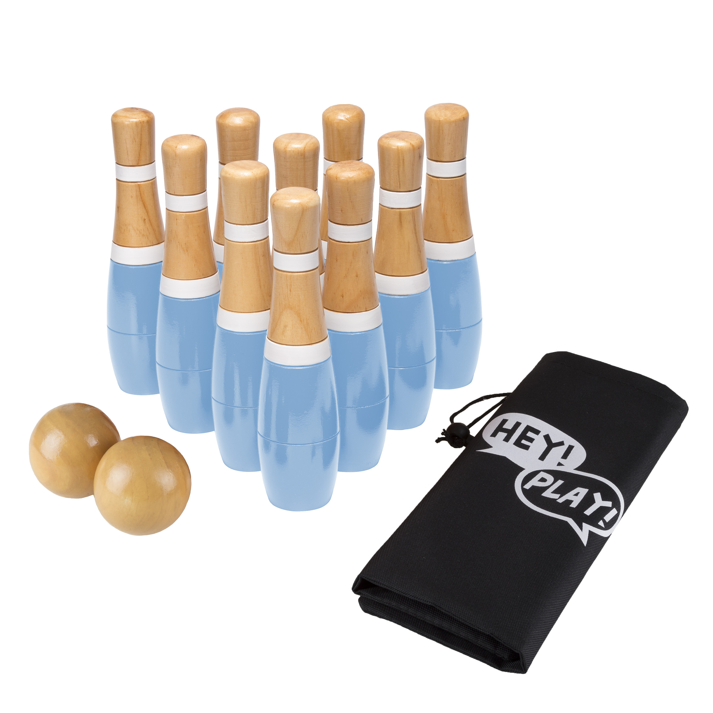 Lawn Bowling Game/Skittle Ball- Indoor/Outdoor Fun for Kids, Adults – 10 Wooden Pins, 2 Balls & Mesh Bag Set by Hey! Play! (8 Inch - Blue /White)